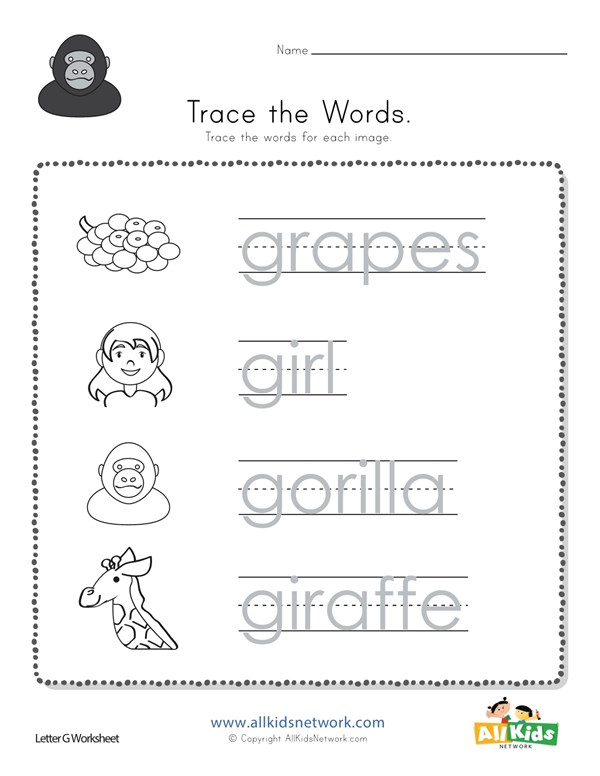 Trace The Letter G Words All Kids Network