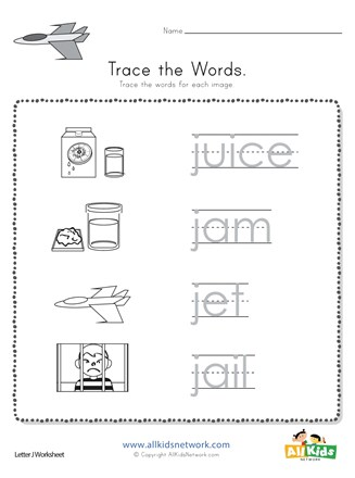 Trace the Letter J Words | All Kids Network