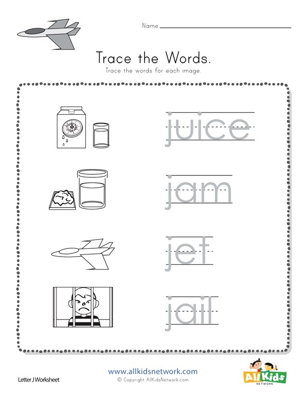 Trace the Letter J Words   All Kids Network