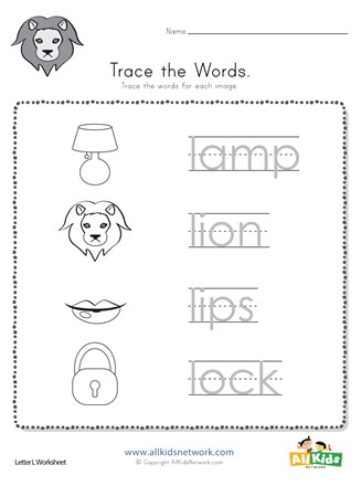 Trace the Letter L Words | All Kids Network
