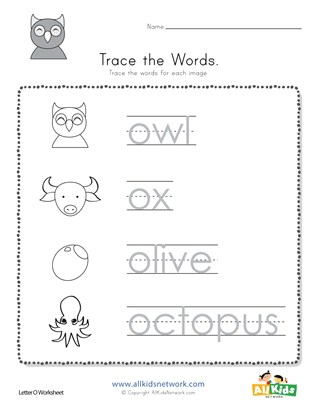 Trace The Letter O Words All Kids Network
