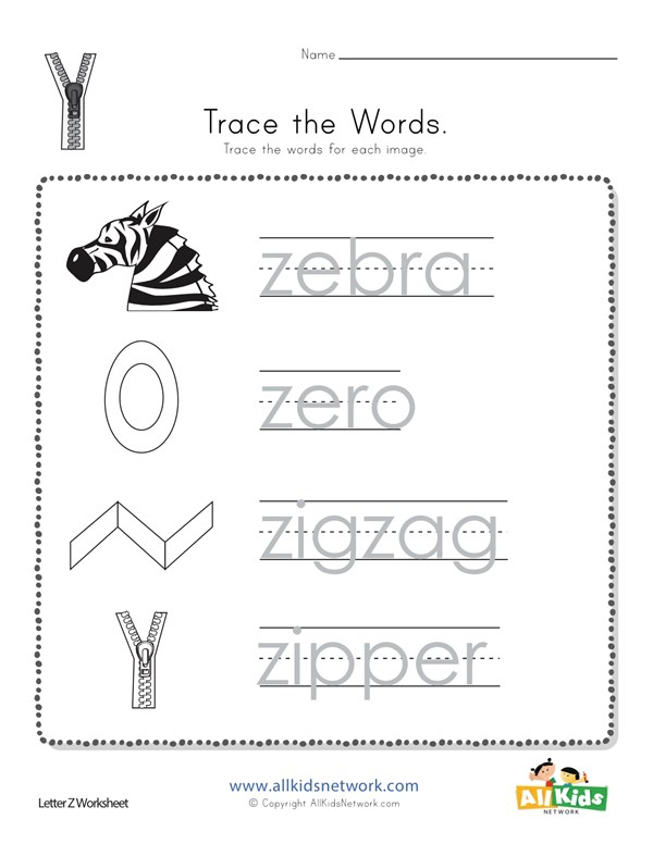 Trace The Letter Z Words All Kids Network