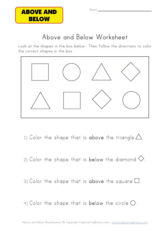 below worksheet