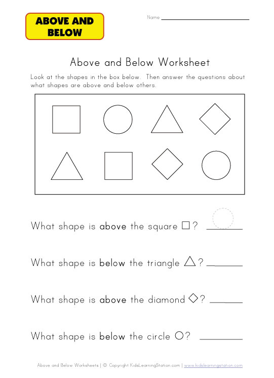 above and below questions worksheet