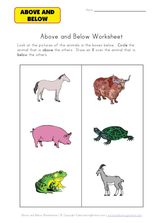 above and below worksheet animals