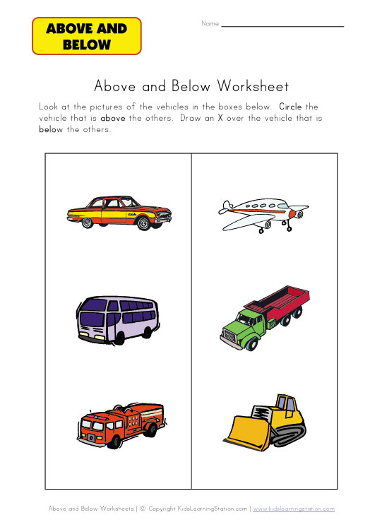 above and below worksheet vehicles