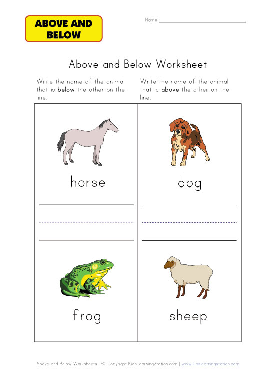 above or below worksheet animals