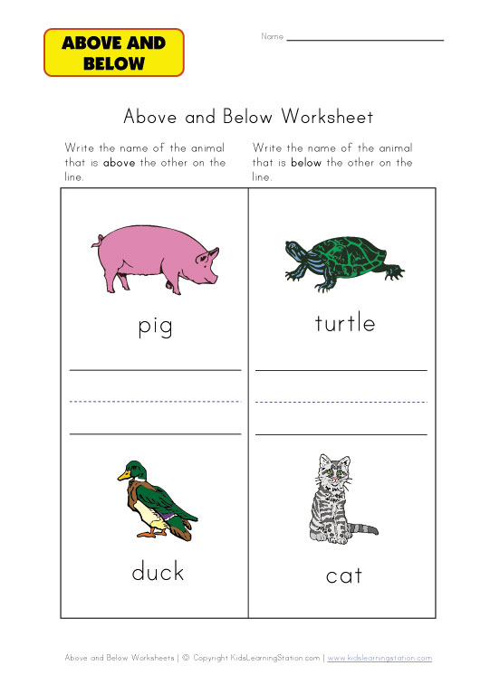 above or below worksheets