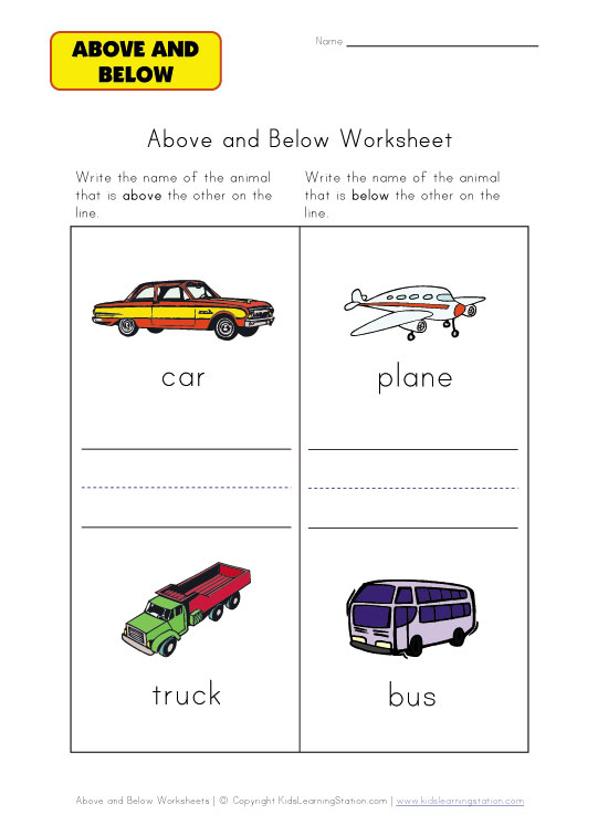 above or below worksheet