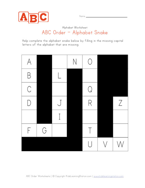 ABC Order Snake Puzzle