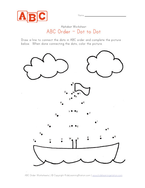 Kindergarten Abc Worksheets Abc dot to dot boat worksheet