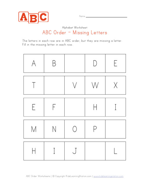 ABC Order Worksheet - Easy Capitals | Kids Learning Station
