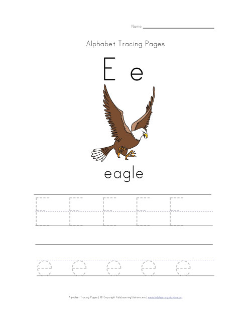 Letter E Tracing Page with Picture of an Eagle | Kids Learning Station