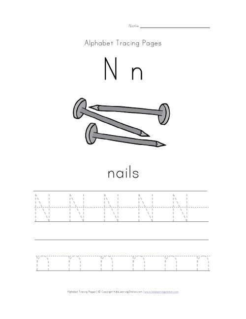 letter n tracing page with picture of nails kids learning station. Black Bedroom Furniture Sets. Home Design Ideas