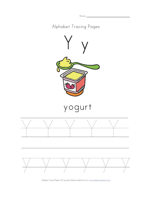 Letter y Words Letter y Tracing Page With