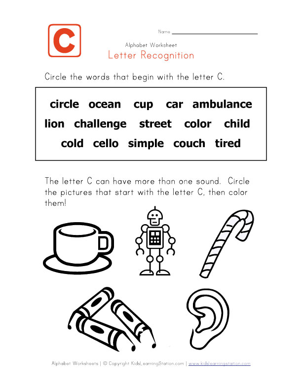 Words that start with the letter C - Alphabet Recognition
