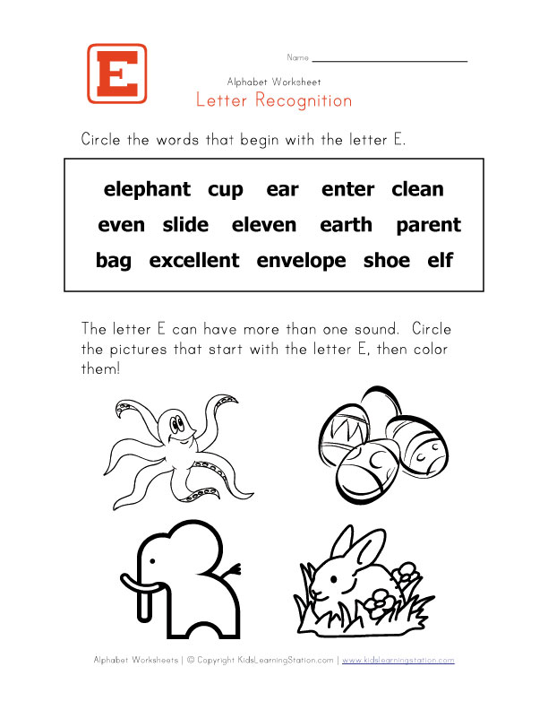 Words that start with the letter E - Alphabet Recognition
