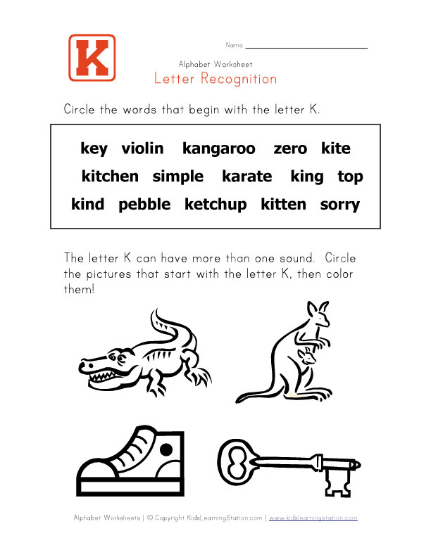 ... letter k and color the pictures view and print your letter k worksheet