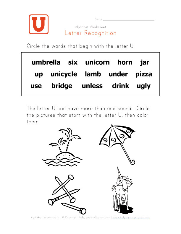Words that start with the letter U - Alphabet Recognition