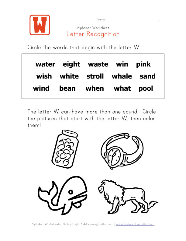 Words that start with the letter W - Alphabet Recognition