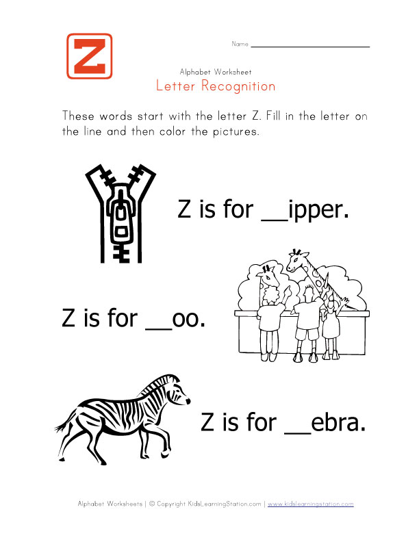 Letter Z Words View and print your letter z