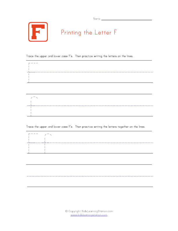 Alphabet Worksheet Letter F
