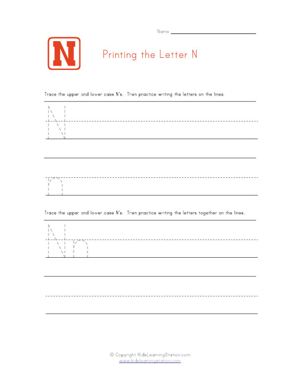 Alphabet Worksheet Letter N