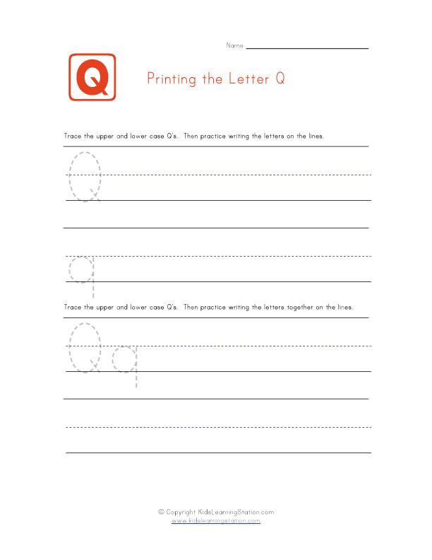 Practice Printing - Alphabet Worksheet Letter Q