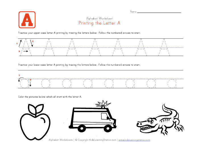 View and print your traceable alphabet letter a worksheet
