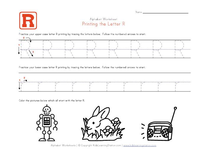 Letter R Worksheets Preschool Traceable alphabet letter r