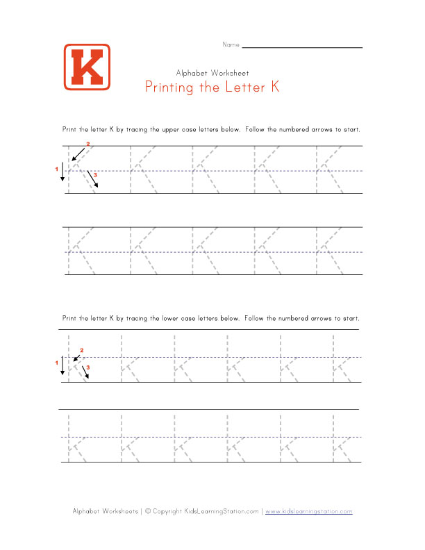 Traceable Letter K | Preschool Alphabet Pages | Kids Learning Station