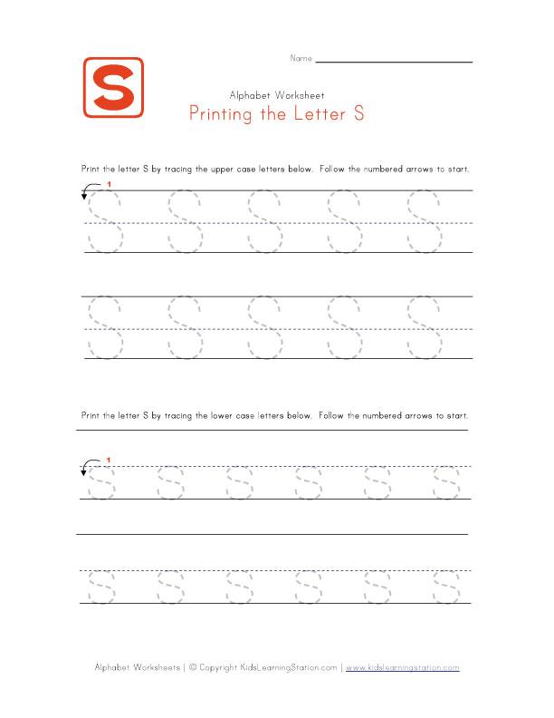 printable letter s tracing worksheets preschool