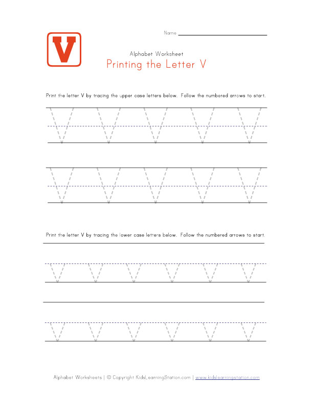traceable letter v preschool alphabet pages kids learning station. Black Bedroom Furniture Sets. Home Design Ideas