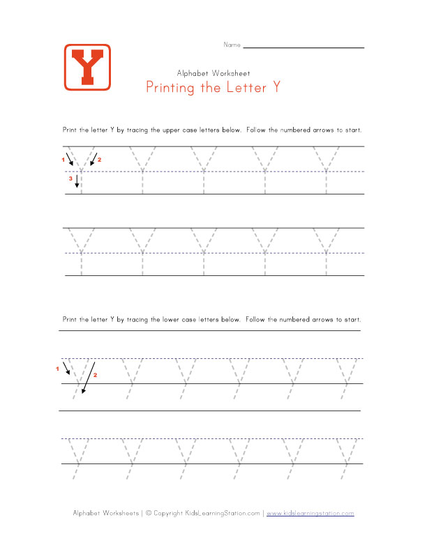Traceable Letter Y | Preschool Alphabet Pages | Kids Learning Station