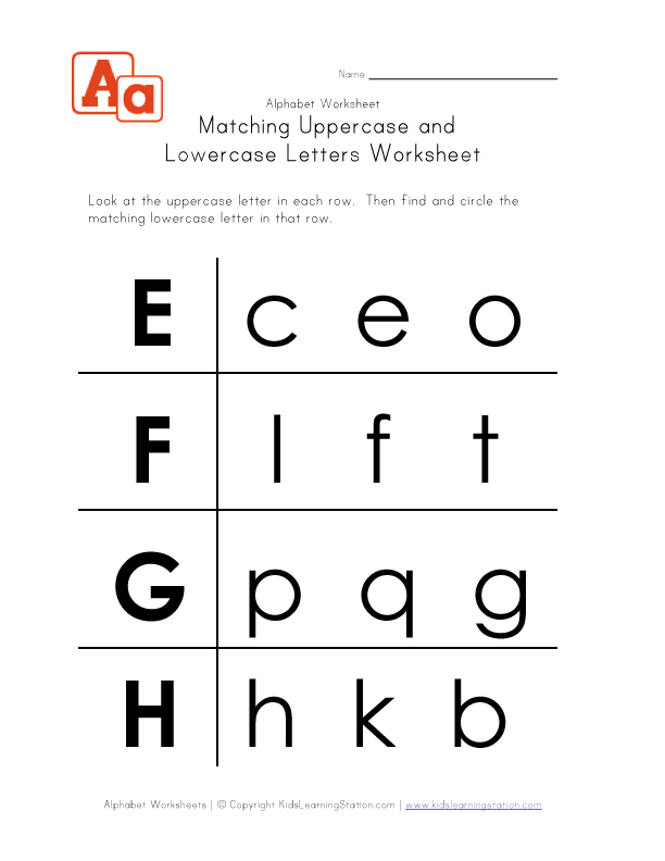 Letter Worksheets Uppercase and Lowercase E F G and H Kids