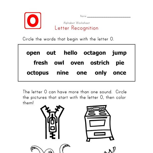 Letter O Words - Alphabet Recognition Page