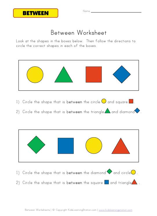 between direction worksheet color