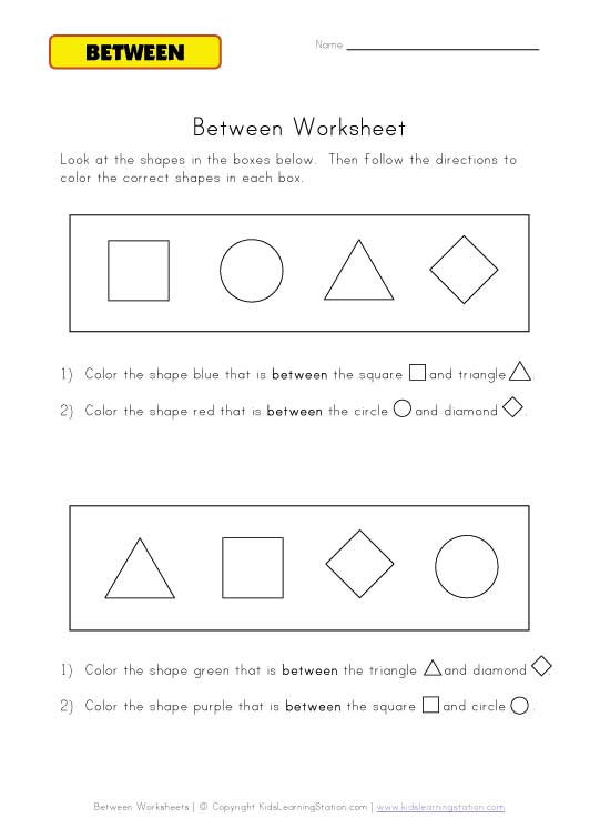 between directions worksheet