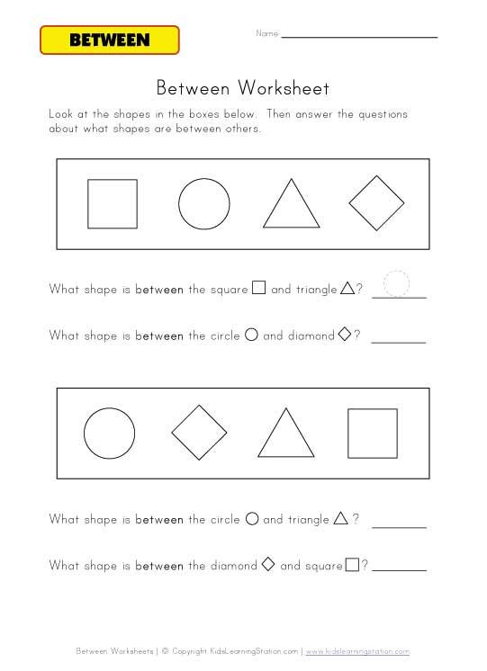 Between Worksheets : Kids Learning Station