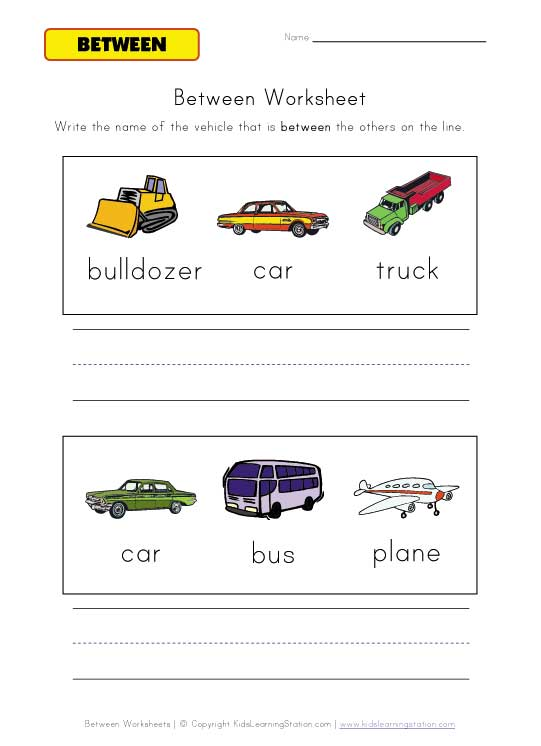 vehicles between worksheet