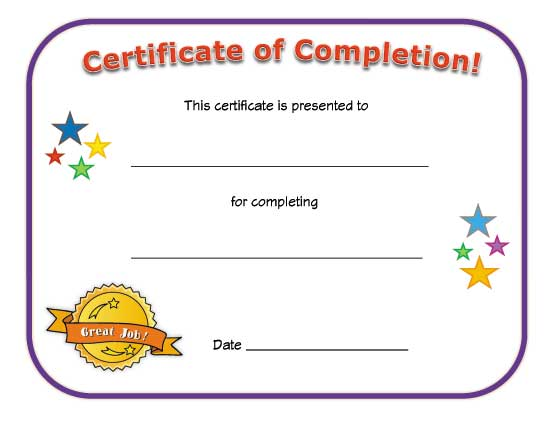 Witty image inside printable certificates of completion