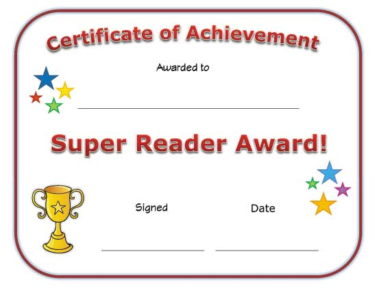 View and Print Your Super Reader Award