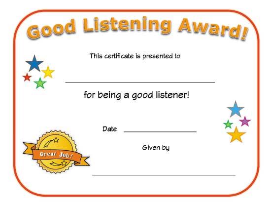 Good Listener Award Certificate | All Kids Network