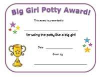 big girl potty certificate