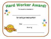 hard worker certificate