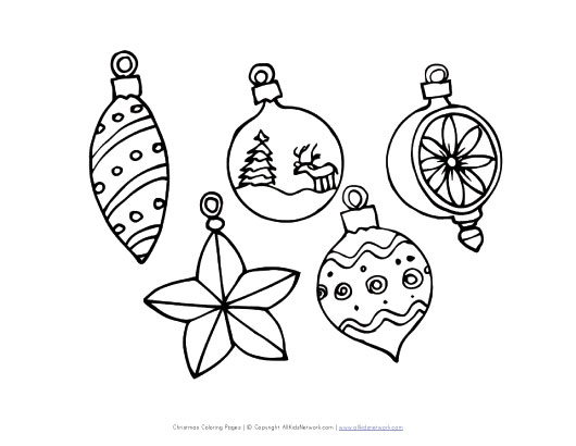 view and print your christmas ornaments coloring page