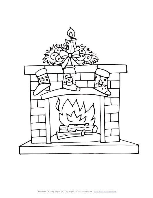 Simple Fireplace Coloring Page