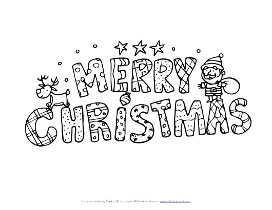 Merry christmas card coloring page