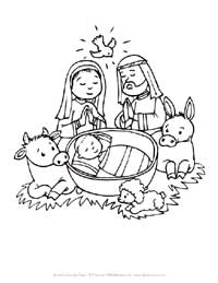 baby in manger coloring page