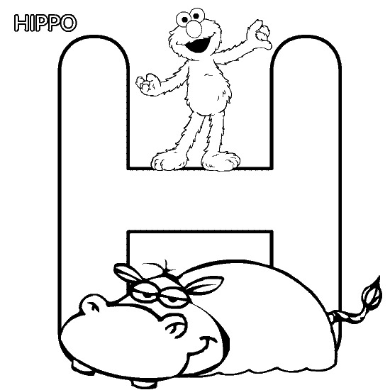 view elmo coloring pages alphabet h